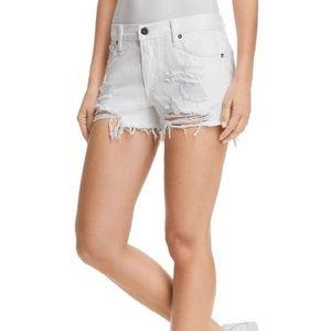 Pistola Asher Distressed Denim Shorts - White Lies